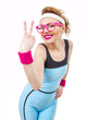Smile young fit woman gesturing