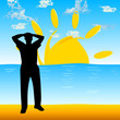 man on the beach vector silhouette illustration