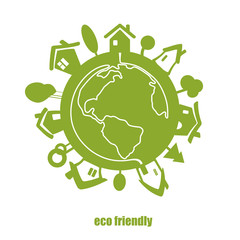Vector eco green planet.