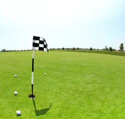 Green golf course with flag