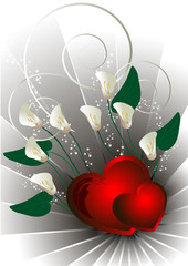 Red hearts with white flowers calla