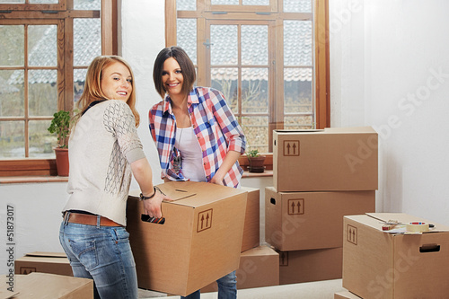 two girls moving