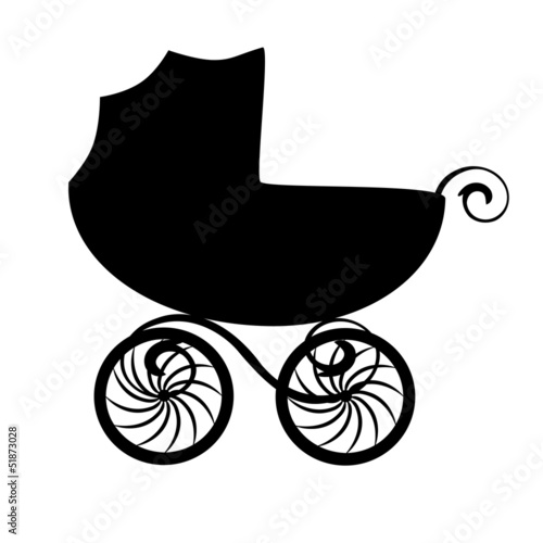 Isolated black baby carriage silhouette