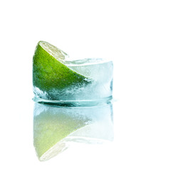 Fresh lime and slice with ice at recliner - chair