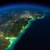 Night Earth. A piece of South America - Argentina, Uruguay and B
