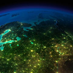 Night Earth. The European part of Russia
