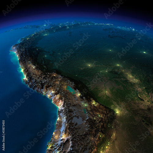 Night Earth. A piece of South America - Bolivia, Peru
