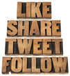 like, share, tweet, follow