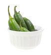 Jalapeno peppers in small white dish