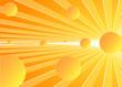 astratto luminoso con sfere tridimensionali sui toni del giallo