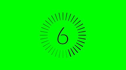 Compte à rebours fin 10-0 noir - fond vert