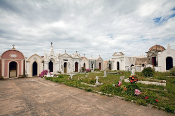 white chapels in a cemetery