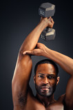 Young African American Man Triceps Workout poster