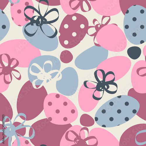 Funky floral pastel seamless pattern