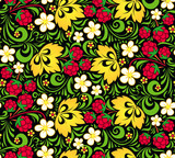 Vector pattern traditional Russian style Hohloma