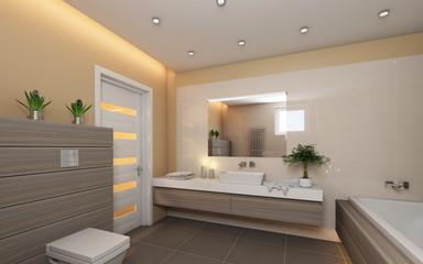 Bright Bathroom With Grey Wood