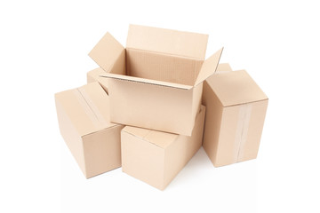 Cardboard box open group on white, clipping path
