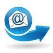 messagerie sur bouton web bleu