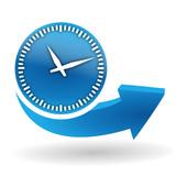 horloge sur bouton web bleu