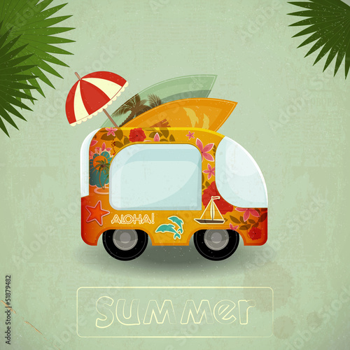 Summer Travel Bus in retro Style