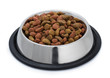 Steel bowl of pet food