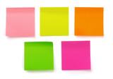Fototapety Five color blank sticky notes