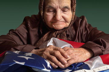 Elderly woman with American flag