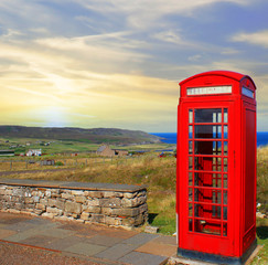 Phone booth in the Scottish countryside