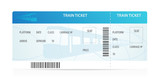Train ticket tamplate (layout) with train silhouette. Railway