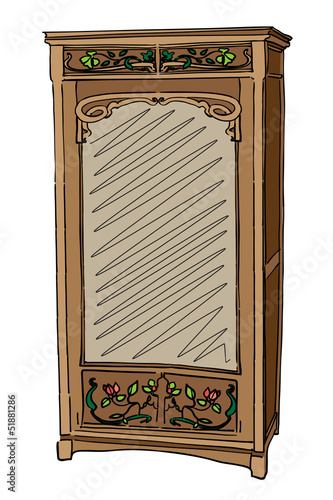jugendstil wardrobe with mirror
