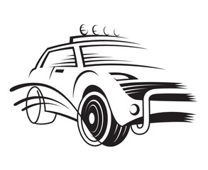 monochrome illustration of a car