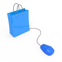 Blue shopping bag with mouse