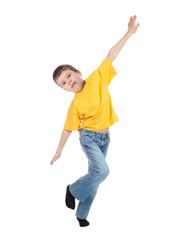 boy simulates flight