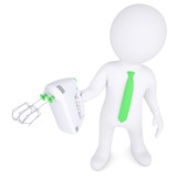3d man with hand mixer