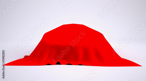 Car covered with red cloth