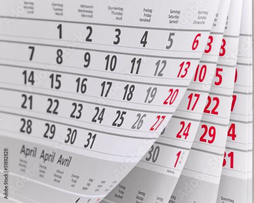 Leinwandbild Motiv Kalender
