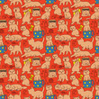 Seamless orange doodle pattern with cats