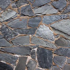 Granite gray flagstone pavement wall