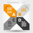 orange and grey sharp infographic x with letters