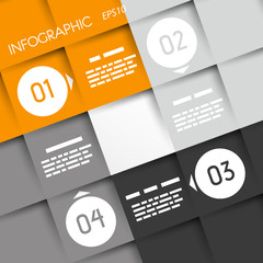 orange big square infographic four options with rings