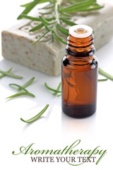 Aromatherapy bottle with rosemary and soap bar