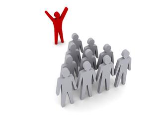 Team leader. Speaker, workforce. Concept 3D illustration.