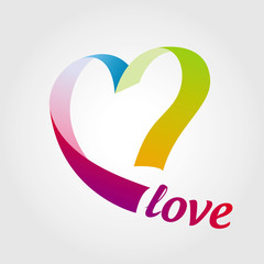 logo heart of colored ribbons