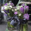 bouquet of blue hyacinth in vase of glass.