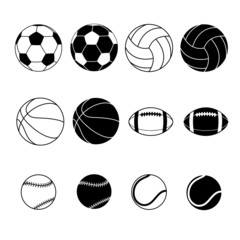 Collection Of Black And White Sports Balls Silhouettes