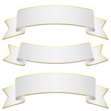 Set of white bands with gold edges