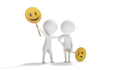 Optimism versus Pessimism with white 3d people