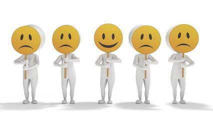 3d white cartoon men with emoticon symbols