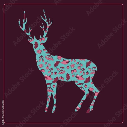 Pattern deer forest background