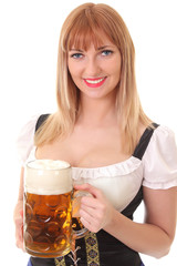 pretty waitress with beer